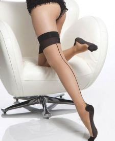 Neutral / Nude & black contrast seamed cuban heel stockings